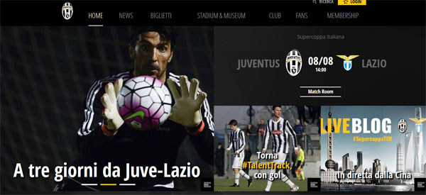 Screenshot sito Juventus.com